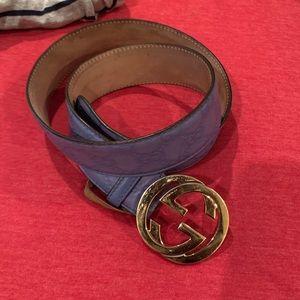 Gucci Guccissima Embossed Interlocking G Belt